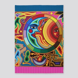 Mexican_String_Art_Image_Sun_Moon_S 5'x7'Area Rug