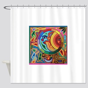 Mexican_String_Art_Image_Sun_Moon_S Shower Curtain