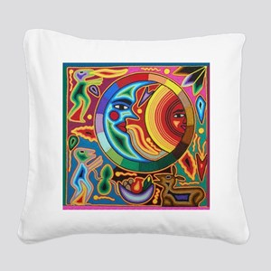 Mexican_String_Art_Image_Sun_ Square Canvas Pillow
