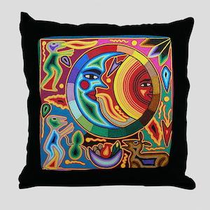Mexican_String_Art_Image_Sun_Moon_Sta Throw Pillow