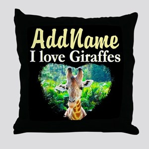 GIRAFFES RULE Throw Pillow