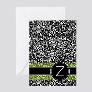 441_damask_monogram_Z2 Greeting Card