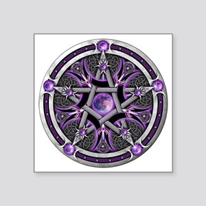 "Purple Moon Pentacle Square Sticker 3"" x 3"""