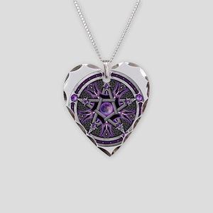 Purple Moon Pentacle Necklace Heart Charm