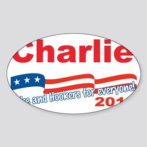 charlie aa(blk) Sticker (Oval)