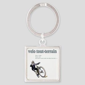 Velo_tout-terrain_wht Square Keychain