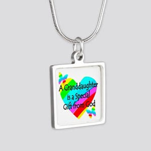GRANDDAUGHTER Silver Square Necklace