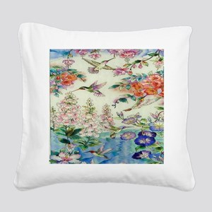HUMMINGBIRD_STAINED_GLASS_8 B Square Canvas Pillow