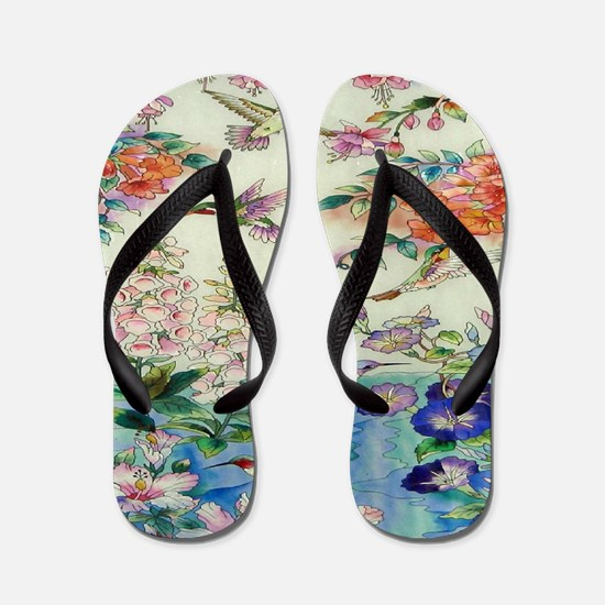 HUMMINGBIRD_STAINED_GLASS_8 BY 10 Flip Flops
