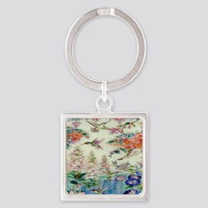 HUMMINGBIRD_STAINED_GLASS_8 BY 10 Square Keychain