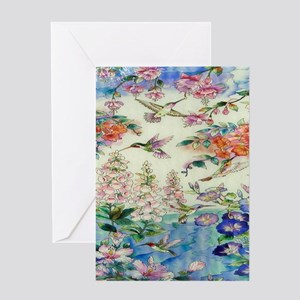 HUMMINGBIRD_STAINED_GLASS_8 BY 10 Greeting Card
