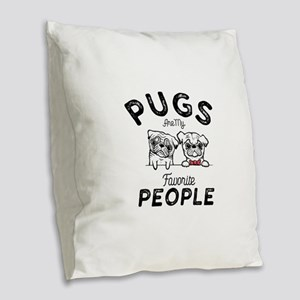 Pugs Burlap Throw Pillow