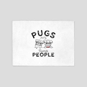 Pugs 5'x7'Area Rug