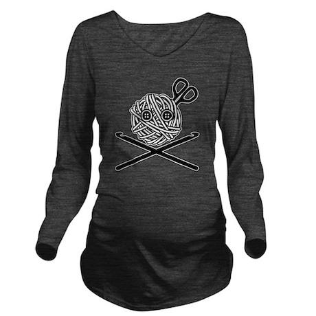 PirateCrochet06_blac Long Sleeve Maternity T-Shirt