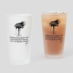 ostrich head in sandwlogo Drinking Glass
