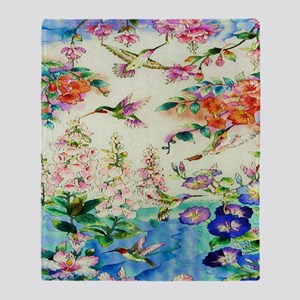 HUMMINGBIRD_STAINED_GLASS_10 14 Fram Throw Blanket