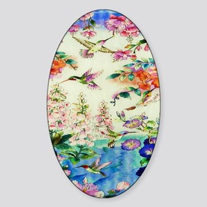 HUMMINGBIRD_STAINED_GLASS_10 14 Fra Sticker (Oval)
