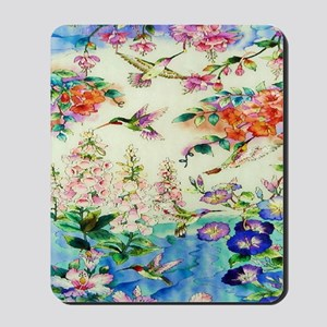 HUMMINGBIRD_STAINED_GLASS_10 14 Framed P Mousepad