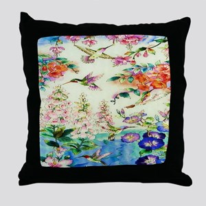 HUMMINGBIRD_STAINED_GLASS_16 20 Small Throw Pillow