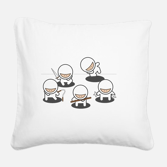 Ninjas Multiply White Square Canvas Pillow