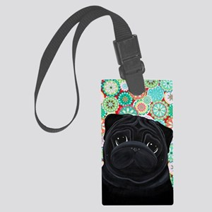 Black Pug circles Large Luggage Tag