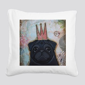 Black Pug Crowned Square Canvas Pillow