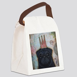 Black Pug Crowned Canvas Lunch Bag