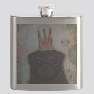 Black Pug Crowned Flask