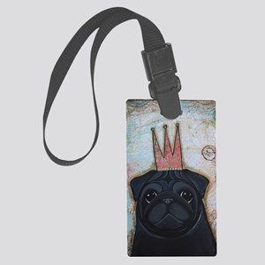 Black Pug Crowned Large Luggage Tag