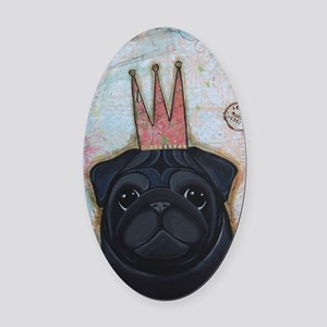 Black Pug Crowned Oval Car Magnet