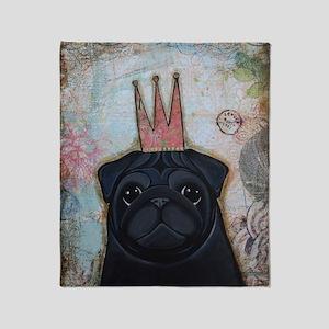 Black Pug Crowned Throw Blanket