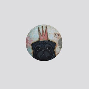 Black Pug Crowned Mini Button