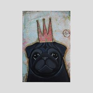 Black Pug Crowned Rectangle Magnet