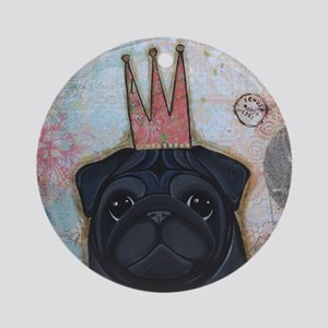 Black Pug Crowned Round Ornament