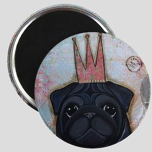 Black Pug Crowned Magnet