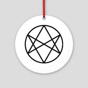 unihextransblackcirc Round Ornament