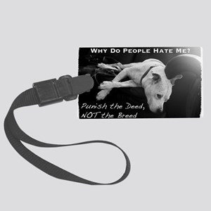 NormaJean BSL BW White Text Couc Large Luggage Tag