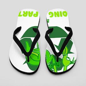 recycle go green doing my part flamingo Flip Flops
