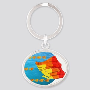tsunami ring of fire pacific ocean Oval Keychain