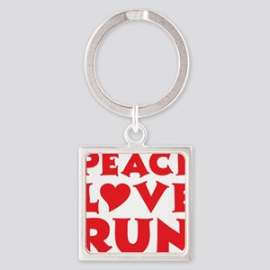 peace love run red Square Keychain