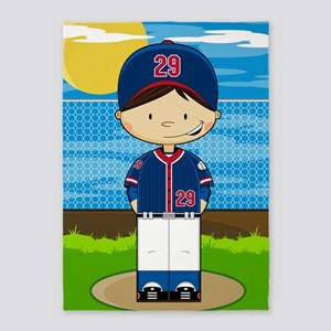 Baseball 3 5'x7'Area Rug