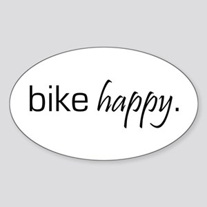 Bike Happy Oval Sticker
