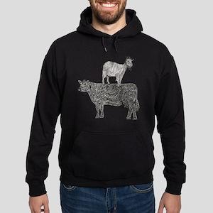 Goat on cow-2 Hoodie (dark)
