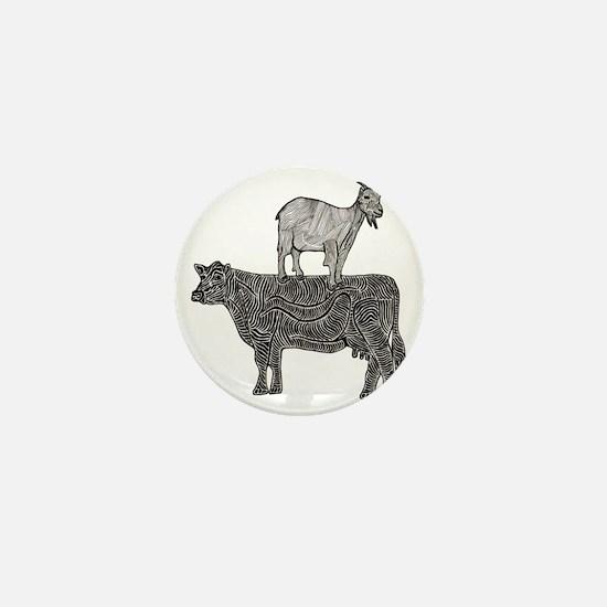 Goat on cow-2 Mini Button