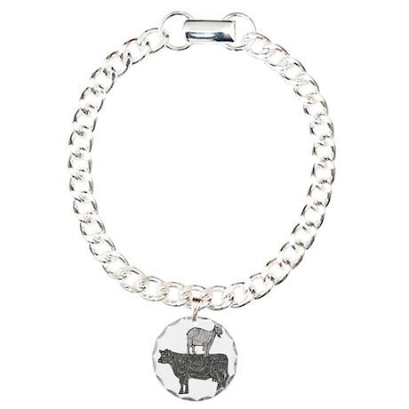 Goat on cow-2 Charm Bracelet, One Charm