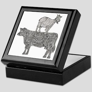 Goat on cow-2 Keepsake Box