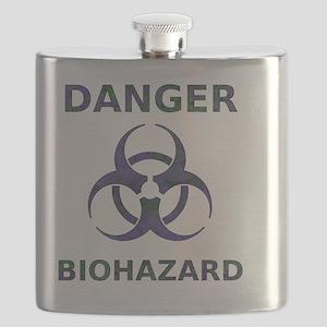 distressedBiohazardTextPurpGrnT Flask