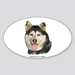 Panting For You WOOF! Oval Sticker