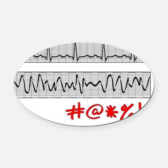 EKG Strips F Symbols RED Grey Oval Car Magnet