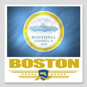 "Boston (Flag 10) Square Car Magnet 3"" x 3"""